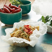 Curried Pork With Rice Paper Crisps