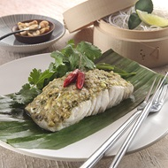 Steamed Herbed Barramundi  In Banana Leaf
