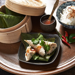 Steamed Green Curry Chicken In Banana Leaf Parcels