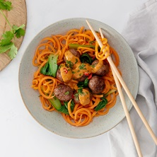 Thai Curry Meatballs And Carrot Spiral